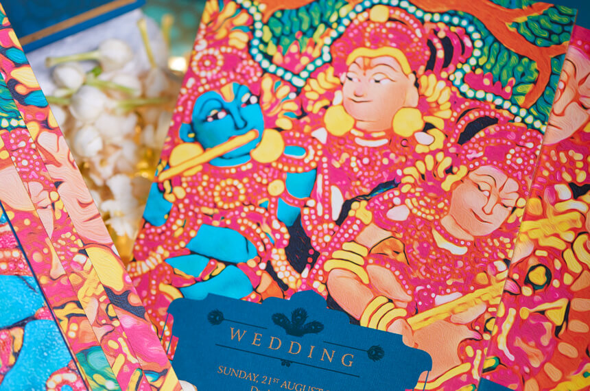 Krishna printed wedding cards